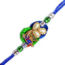 buy rakhi online zardosi rakhi peacock with pearl zardosi rakhi send rakhi