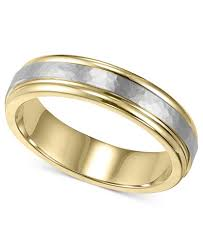 wedding gold rings men s 14k gold and 14k white gold ring two tone hammered wedding
