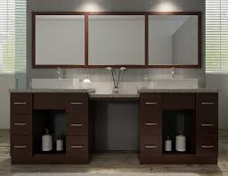 68 Inch Bathroom Vanity by 96 Inch Walnut Finish Double Sink Bath Vanity With Makeup Area
