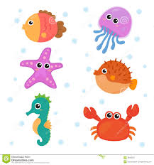 various cute animals at sea bottom royalty free stock photos