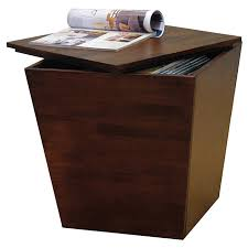 cube brown wooden side table with sbook storage as well as modern