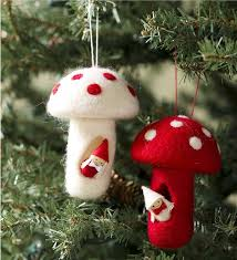 set of 2 gnome home ornaments handcrafted with felt