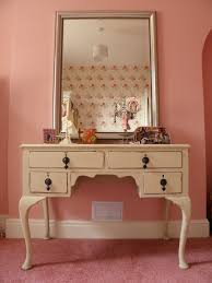 Pink Vanity Table Beige Wooden Dressing Table With Legs And Drawers On Pink Rug