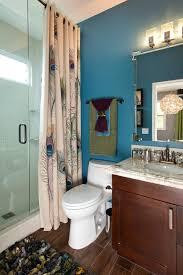 Fun Kids Bathroom - peacock curtains bathroom transitional with glass shower doors