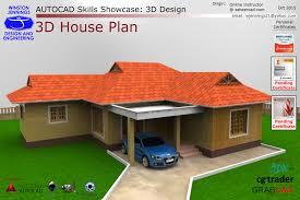 Autocad Skills Showcase 3d House Plan Autocad Step Iges 3d Autocad 3d House Plans