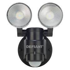 defiant 180 degree 2 head black motion activated outdoor flood