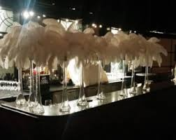 mardi gras ostrich feather centerpiece kits with 24