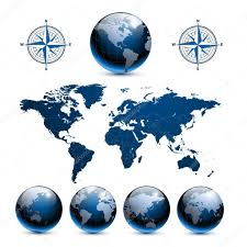 Earth World Map by Earth Globes With World Map U2014 Stock Vector Cobalt88 3805357