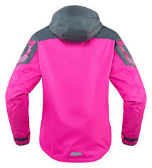 ladies motorcycle gear icon women u0027s pdx 2 waterproof nylon motorcycle rain jacket pink