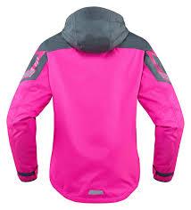 ladies motorcycle clothing icon women u0027s pdx 2 waterproof nylon motorcycle rain jacket pink