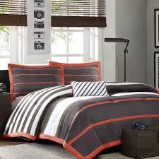 Gray Twin Xl Comforter Twin Twin Xl Comforter Set In Dark Gray Orange White Stripes