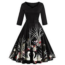 dresslily women swan printed belted dress at amazon women u0027s