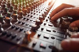 bureau d enregistrement bureau de mélangeur de studio d enregistrement sonore image stock