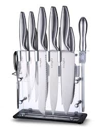 commercial kitchen knives livingkit knife set with wooden block high durability stainless