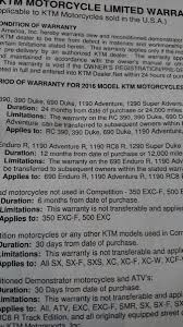 2016 duke 390 got extended warranty page 2 ktm duke 390 forum