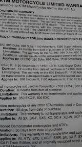 2016 duke 390 got extended warranty page 2 ktm duke 390 forum