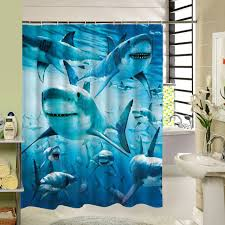 Kids Bathroom Shower Curtain Aliexpress Com Buy Sharks Shower Curtain Blue Sea Fabric Kids