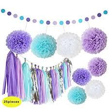 Purple And Blue Flowers Amazon Com Mermaid Decorations Purple And Blue Tissue Paper Pom