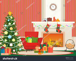 red livingroom christmas livingroom flat interior vector illustration stock