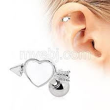 heart cartilage earring surgical steel arrow through your heart cartilage earring