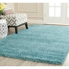 Blue Fuzzy Rug Safavieh Power Loomed Aqua Blue Plush Shag Area Rugs Sg180 6060
