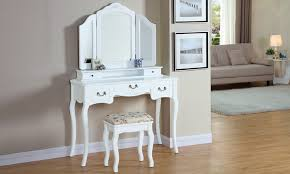 coiffeuse blanche si e avec miroir inclus coiffeuse en bois massif groupon shopping