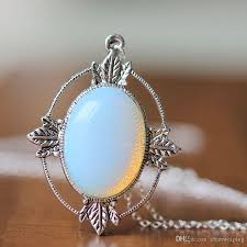 white opal necklace images Antique silver leaf jewelry victorian style white moonstone jpg