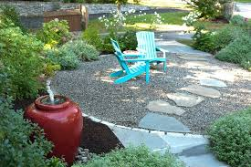 Pea Gravel Patio Pea Gravel And Step Stones Landscape Traditional With Patio