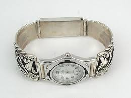 sterling silver bracelet watches images Peterson johnson navajo sterling silver mens watch tips bracelet jpg