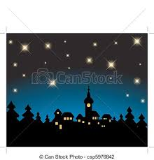 vector illustration of christmas card night snowy landscape with