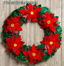 christmas home decors bucilla poinsettia wreath felt christmas home decor kit 86827