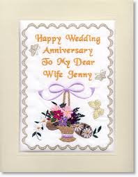 anniversary cards personalised embroidered anniversary cards by moonstone treasures