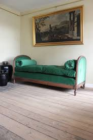 early 20th cent french art deco daybed upholstered in green velvet