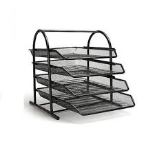 Black Wire Mesh Desk Accessories 4 Tier Metal Paper Tray Office Supplies Stationery Dubai