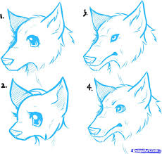 cartoon wolf drawing steps drawing sketch picture