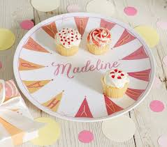 pink happy birthday personalized plate pottery barn