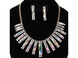 rhinestone necklace sets images Rectangle stone rhinestone necklace set jewel addicts jpg