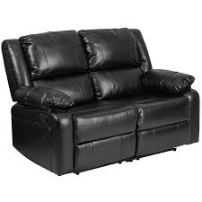 amazon com flash furniture harmony series black leather loveseat