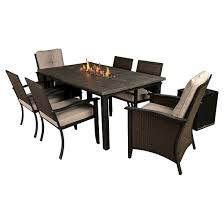 bond campbell 7 piece faux wood fire patio dining set target