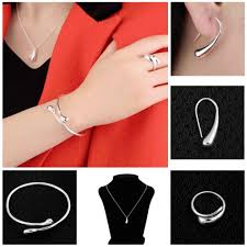 silver earrings bracelet set images Jewelry silver plated drop jewelry sets necklace bracelet bangle jpg
