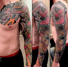tattoo dragon shoulder cool traditional dragon tattoo on man left full sleeve and front