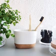 Cool Bathroom Accessories by New Umbra Kera Ceramic Cork Wood Bathroom Minimalist Toothbrush