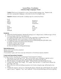 american sign language u2014food 5th 12th grade lesson plan lesson