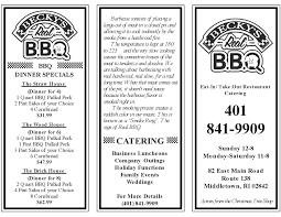 our menu becky u0027s bbq
