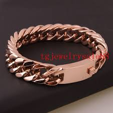 cuff link bracelet images Fashion charm rose gold cuban curb link chain bracelet 15mm jpg