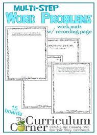 multi step word problem work mats 5th grade math word problems