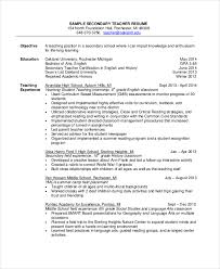 Sample Resume Teaching Position by 18 Sample Resume Objectives Free Sample Example Format Free