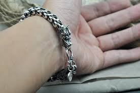 man silver link bracelet images Thai silver jewelry 925 sterling silver dragon bracelet male jpg