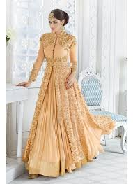 wear georgette fabric embroidered peach color designer sharara top