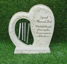 shaped memorial plaque wind chimes grave or